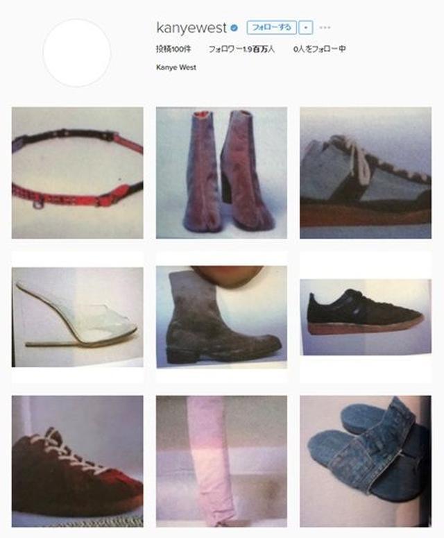 画像: カニエのインスタグラム。靴やモデルの写真などを連続で99枚も投稿。