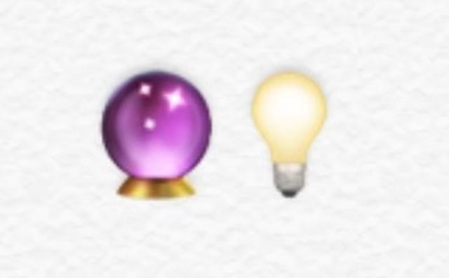 画像: 占いで使われる水晶が電球で明るく照らされている絵文字を使って、未来が明るいことを表現。