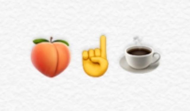画像: But(バット)には、同じ発音を持つButt(お尻)のように見える桃の絵文字をチョイス。一番という意味のFirstは人差し指の絵文字で表現。コーヒーはそのままコーヒーの絵文字で。