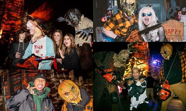 画像: ホラー・ナイトを訪れたセレブ(時計回りで)ドラマ『ウォーキング・デッド』のキャストたち、ベラ・ソーン、ジョーダン・フィッシャー、タイガ。©Halloween Horror Nights