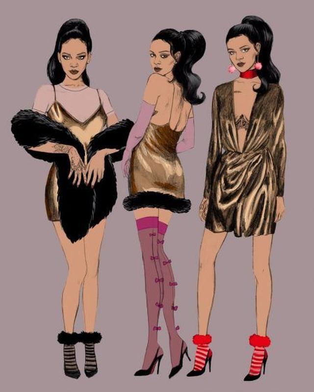 画像: ホリデーコレクションのソックスを履いたリアーナのイラストのキャンペーン・ビジュアルが公開。