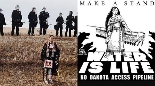 画像: ケイティが「現在ノース・ダコタで起こっていることをもっと知ってください」という長文メッセージと共に投稿した写真(左)と、オーランドが投稿したデモに関するイラスト(右)。