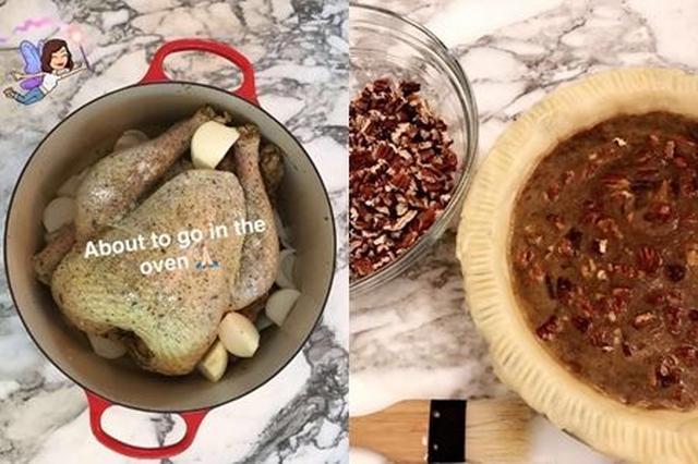 画像: 野菜がたっぷり詰まったターキーを鍋ごとオーブンへ。ピーカンパイは生地から手作り。