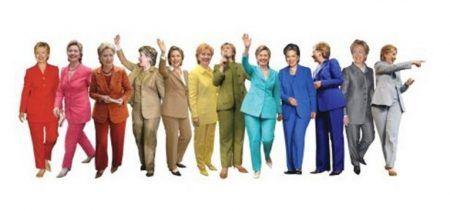 画像: ヒラリー氏は特にカラフルなパンツスーツを着ていることで有名。