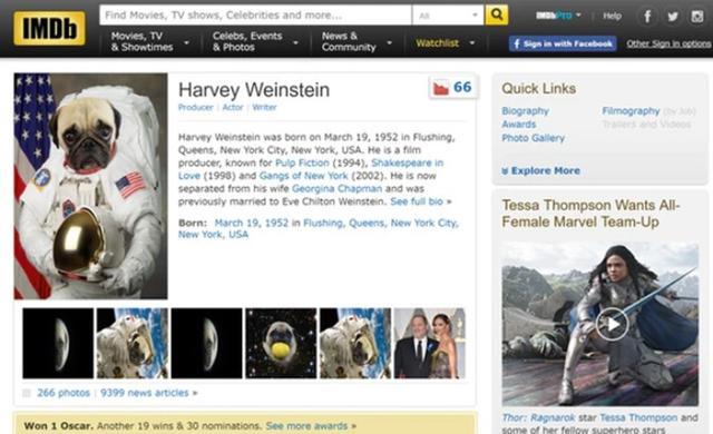 画像: エンタメ系のオンラインデータベースである「インターネット・ムービー・データ・ベース(IMDb)のハーヴェイのページの写真もほぼパグに。パグの写真は数パターンあり。©IMDb