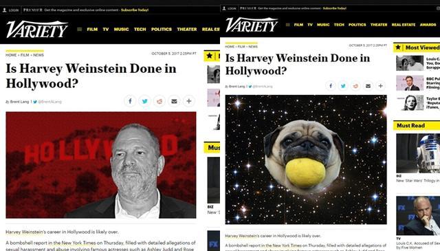 画像: オリジナル記事(右)と「パグ化」後の記事(左)©Variety