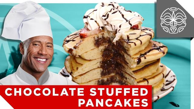 画像: …What The Rock is Cooking: Chocolate Stuffed Pancakes! - YouTube www.youtube.com