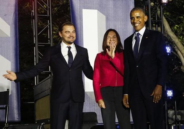 画像: イベントでは俳優のレオナルド・ディカプリオと一緒に温暖化についての討論もおこなった。