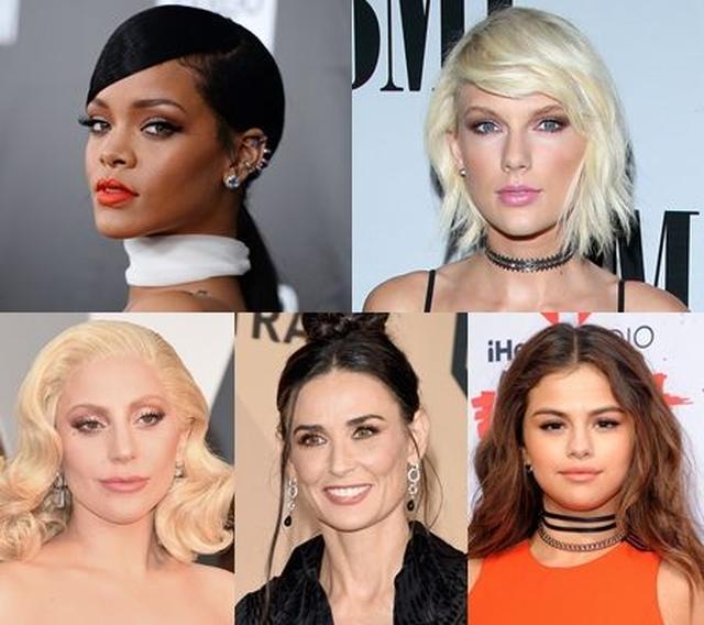 画像: 左上から:シンガーのリアーナ、テイラー、ガガ、女優のデミ、セレーナ。