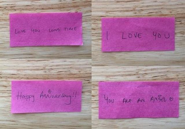 画像: アデルの恋人からのメッセージが書かれた、ピンク色の紙吹雪。 ©haileyoconner