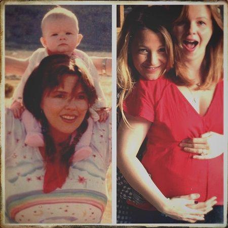 画像: ブレイクが投稿した写真。左は、赤ちゃんのころのアンバーとその母親。