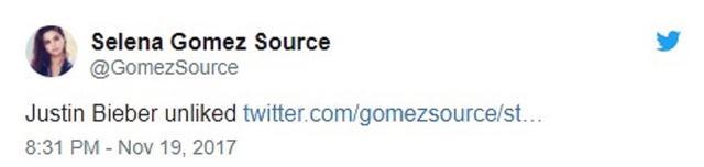 画像: ジャスティンが「いいね」を取り消したことを報告するファンアカウントのツイート。©Gomez Source/ Twitter