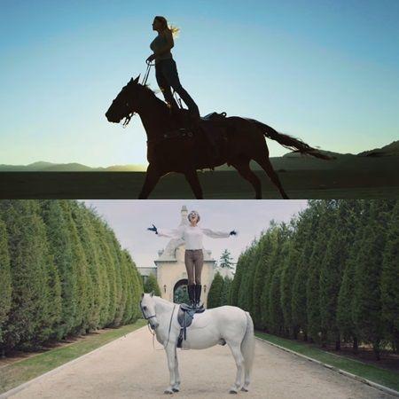 画像: (上)「マイ・ウェイ」、(下)「ブランク・スペース」MVのテイラー。馬の上で立ち上がっているのが同じ。