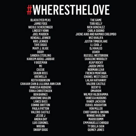 画像: リメイク版に参加したセレブたちのリストの一部。このリストに名前が掲載されていない女優のニッキ―・リードやロザリオ・ドーソンらも参加しているほか、警官によって銃殺された黒人被害者たちの母親も登場している。