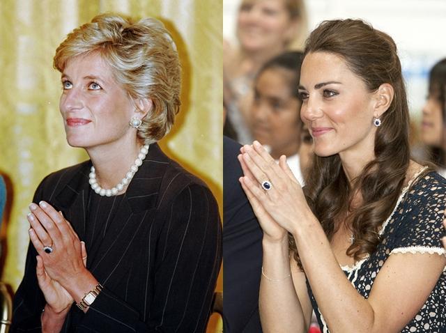 画像: キャサリン妃が贈られたのは、12カラットのサファイアが14個のダイヤモンドで囲まれたアイコニックな指輪。