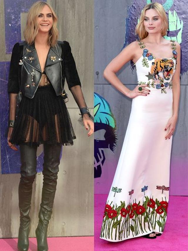 画像: 邪悪な魔女エンチャントレスを演じたカーラはAlexander McQueenのチュール素材のベビードールワンピースにジュエリーピンがたくさんついたレザージャケットを合わせたクールなスタイル。ファンキーな悪女ハーレイ・クインを演じたマーゴットは虎と花の刺繍が特徴のGucciの白ドレスで。
