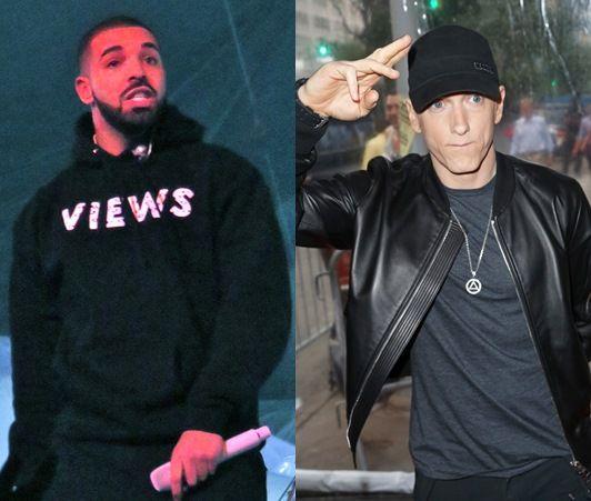 画像: ドレイク(左)とエミネム(右)。