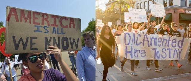 画像: 9月に米各都市で行われたDACA制度撤廃反対のデモの様子。DACA制度に登録した若者は「ドリーマー」と呼ばれ、不法移民たちだけでなく、彼らを守ろうとする多くのアメリカ市民たちも参加した。