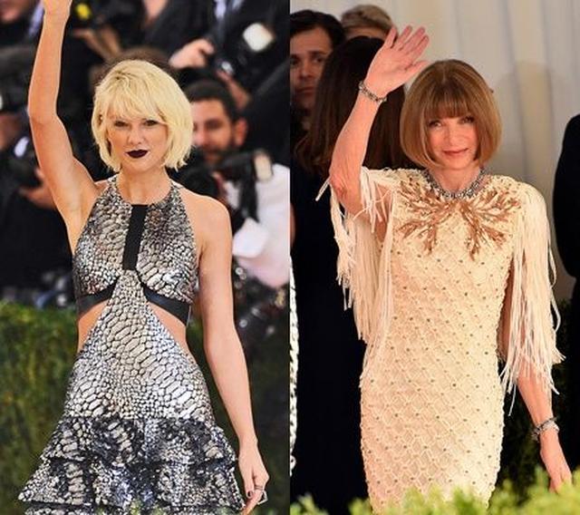 画像: 2016年のドレスコードは「手仕事×機械」。写真(左)テイラーはメタリックのドレスをチョイス。写真(右)は主催者であるVOGUE誌編集長のアナ・ウィンター