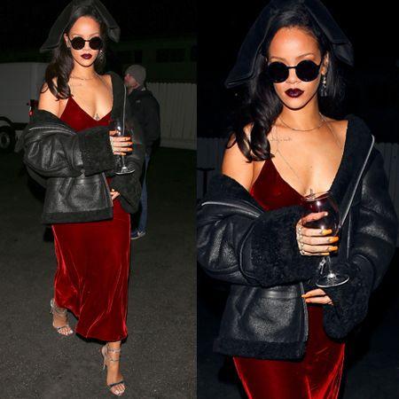 画像: 高級感のあるベロア素材のダークレッドのスリップドレスには赤ワインを。