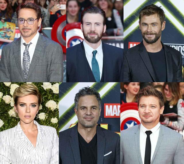 画像: 左上から時計回りで、アイアンマンのロバート・ダウニー・Jr、キャプテン・アメリカのクリス・エヴァンス、ソーのクリス・ヘムズワース、ホークアイのジェレミー・レナー、ハルクのマーク・ラファロ、ブラック・ウィドウのスカーレット・ヨハンソン。