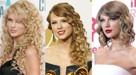 画像: 左から2006年のデビュー当時、2010年のグラミー賞で4冠を達成した頃、そして、テイラーが2014年に最後にくるくるカーリーヘアで登場したiHeartRadioフェスティバルでの写真。