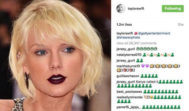画像: テイラーの投稿に寄せられた「ヘビ」の絵文字の数々。©Taylor Swift/ Instagram