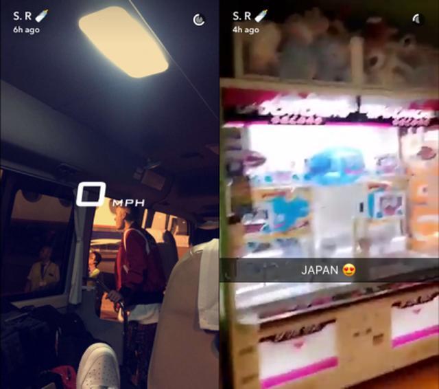 画像: さらにスナップチャットでは、バスから降りるジャスティンの写真や日本のゲームセンターの様子なども公開していた。