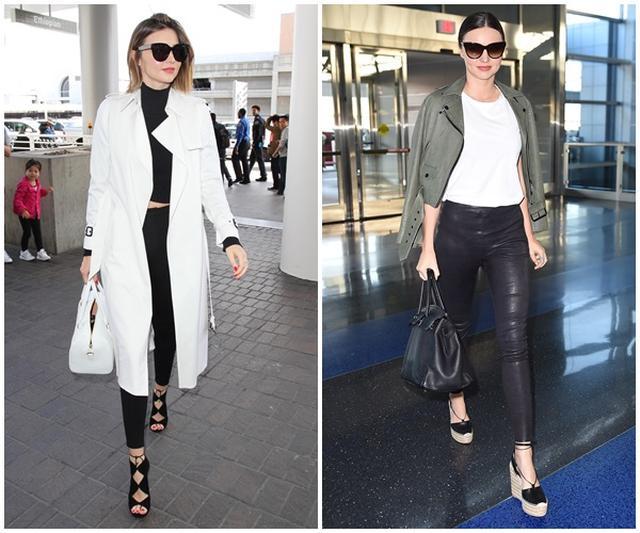 画像: 頻繁に空港でキャッチされるミランダは、ジェットセッタースタイルもお手の物。