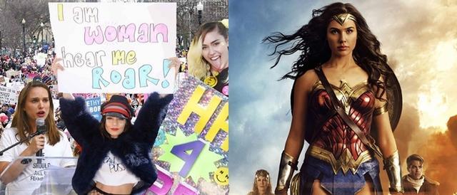 画像: 左:女性のマーチには一般人に混ざり、女優のナタリー・ポートマンやヴァネッサ・ハジェンズ、シンガーのマイリー・サイラスらも参加。右:映画『ワンダーウーマン』は女性監督による力強い女性の描写が評判に。主演のガル・ガドットも一躍ブレイクを果たした。
