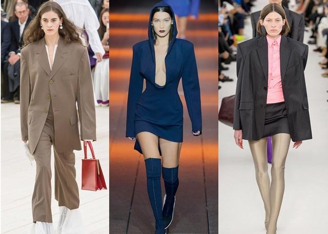 画像: 有名ブランドのランウェイでも肩パッドなどでショルダーラインを強調し、強い女性像を表現した「パワー・ショルダー」デザインが目立った。左から、CÉLINE DKNY、MICHAEL KORSの2017春夏コレクションより。