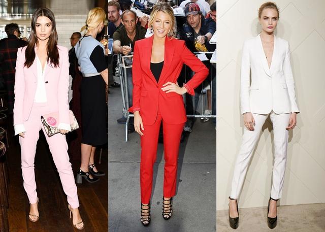 画像: 女性セレブたちの間で「パワー・スーツ」と呼ばれるキリッとしたスーツスタイルが人気に。