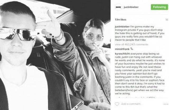 画像: ジャスティンはソフィアとの2ショット写真と共に、中傷を止めるように警告。