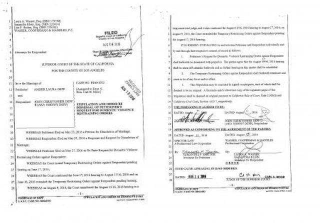画像: 2人によってサインされたアンバーのジョニーへの訴えを取り下げるという裁判書類。