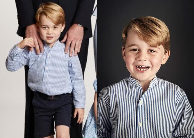画像: ジョージ王子の着ているストライプのスタンドカラーシャツが同じ。右がバースデー・ポートレイト。©Kensington Palace