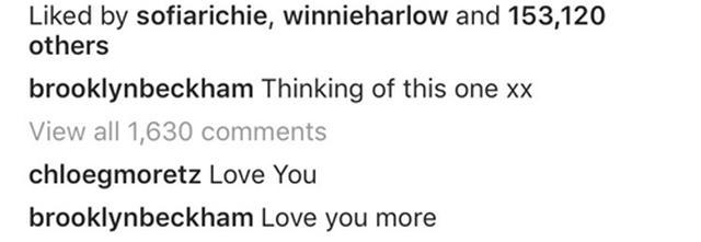 画像: ブルックリンの投稿に、クロエが「愛してるよ」と投稿。これに対し、ブルックリンも「僕も愛してるよ」とコメントし、2人の復縁を望んでいたファンは大興奮。