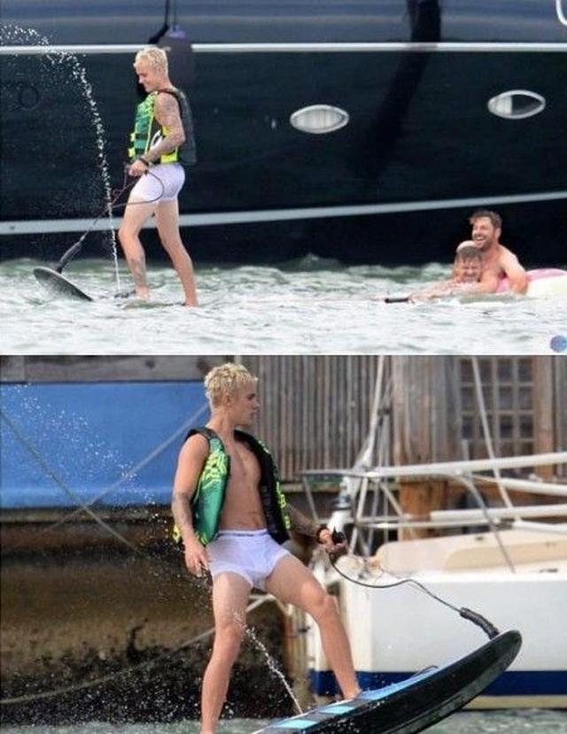 画像3: 【写真アリ】ジャスティン・ビーバー、『プリティ』女優とブリーフ姿で海遊び