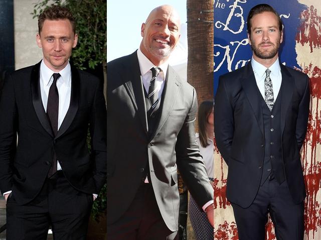 画像: 左から:トム・ヒドルストン、ドウェイン・ジョンソン、アーミー・ハマー。