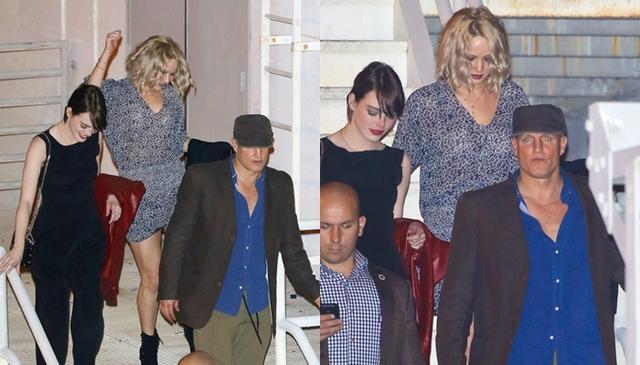 画像: ウッディとエマは映画『ゾンビランド』で共演し、ウッディとジェニファーは映画『ハンガーゲーム』シリーズで共演している。2016年にはウッディも含めて一緒にシンガーのアデルのコンサートを訪れたことも。青いシャツがウッディ。