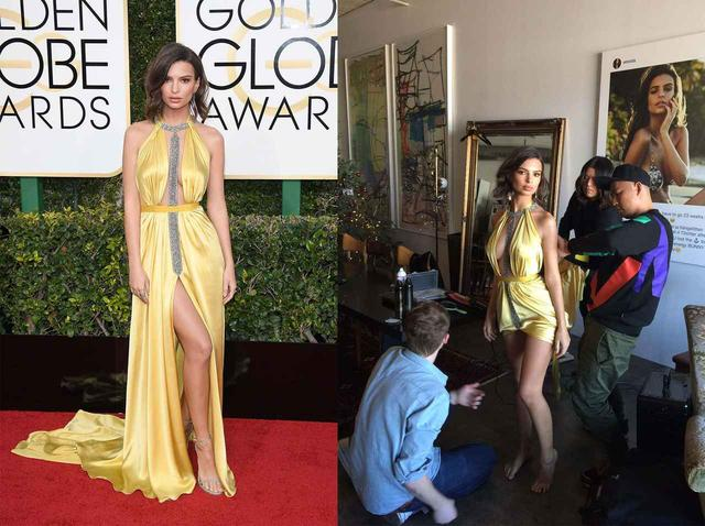 画像: 昨年開催されたゴールデン・グローブ賞に出席したモデル兼女優のエミリー・ラタコウスキーは、着付けの際、スタイリストとアシスタントの3人がかりで細かなサイズ調整(写真右)。その甲斐あって、レッドカーペットで完璧な姿を披露した。