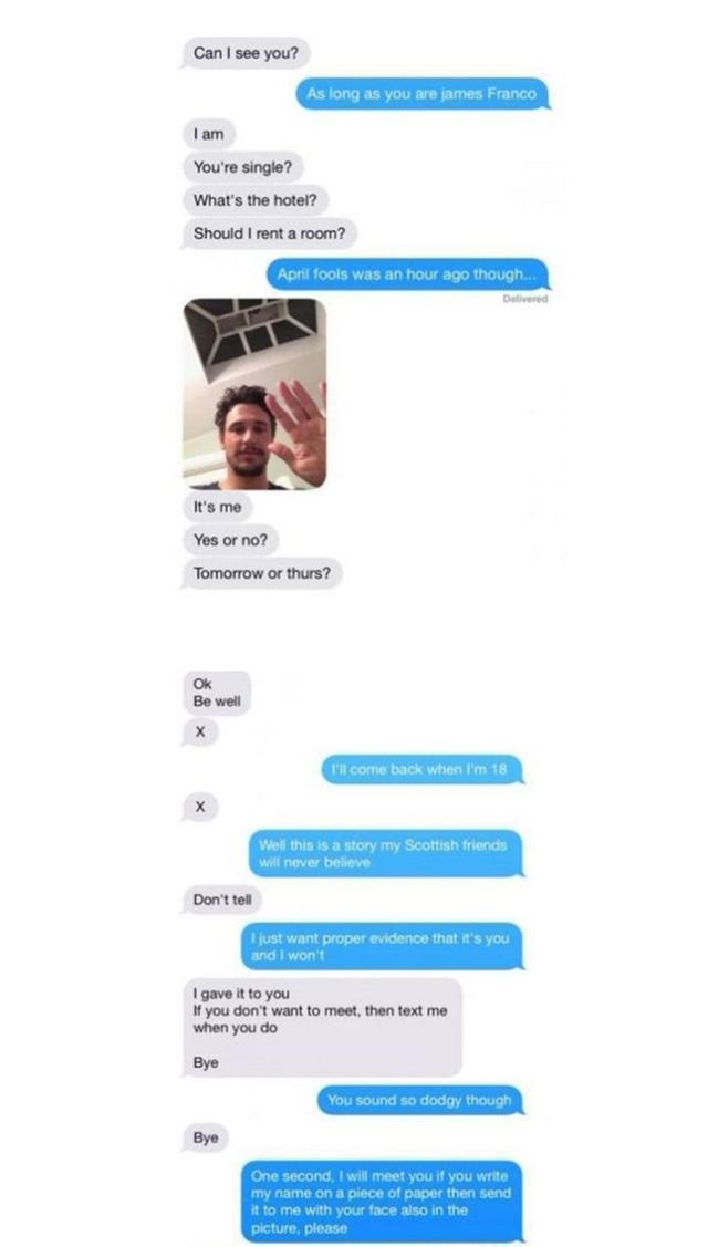 画像: 2014年に流出したジェームズと当時17歳だったファンの少女のやりとりを記録したスクリーンショット。「本物だという証拠を見せて」と言う少女に対し、ジェームズは自身のセルフィーを送っていた。©DontBscaredRude/Twitter