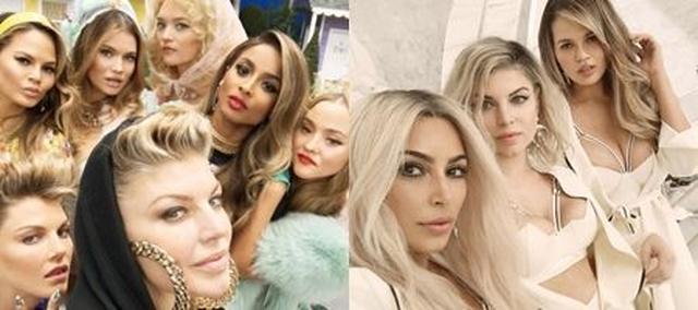 画像: 左からモデルのアンジェラ・リンドヴァル、クリッシー・テイゲン、タラ・リン、ジェマ・ワード、シンガーのシアラ、モデルのデヴォアン・アオキ。リアリティースターのキム・カーダシアンも出演。