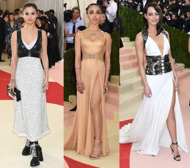 画像: 左から:セレーナ・ゴメス(ドレス:Louis Vuitton)、FKAツイグス(ドレス:Atelier Versace)、エマ・ストーン(ドレス:Prada)。