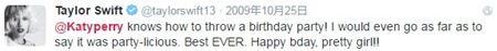 画像: テイラー:「ケイティ・ペリーが企画するバースデーパーティは最高! パーティリシャスってさえ呼んじゃう。過去最高よ。プリティガール、お誕生日おめでとう!!」