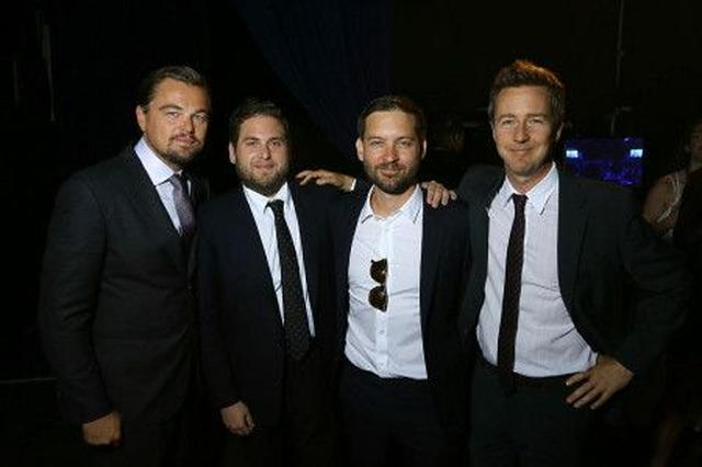 画像: 左からレオナルド、『マネーボール』のジョナ・ヒル、『スパイダーマン』でおなじみのトビー・マグワイア、『バードマン』のエドワード・ノートン。