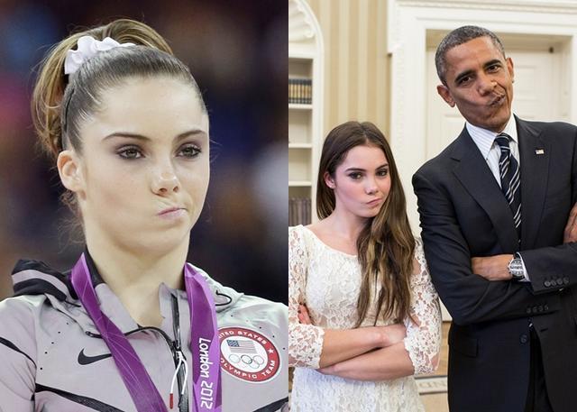 画像: ロンドン五輪の表彰台で見せた「不満顔」が話題となったマッケイラ。ホワイトハウスでのオバマ元大統領との面会時には、2人でこの「不満顔」を再現したことも。