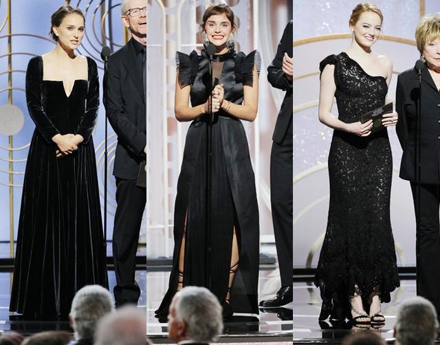 画像: 左から:ゴールデン・グローブ賞の舞台にプレゼンターとして登場したナタリー・ポートマン、エマ・ワトソン、エマ・ストーン。