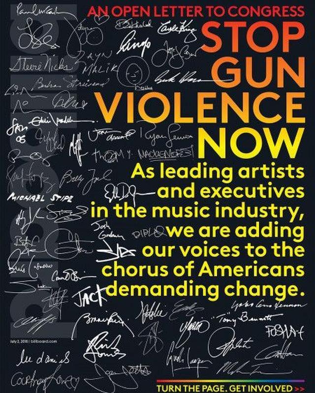 画像: 銃規制を訴える米Billboard誌の表紙。
