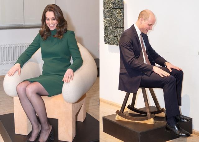 画像: ウィリアム王子とともに、北欧デザインのさまざまな椅子を試していた。