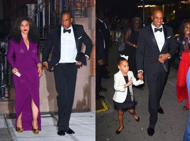 画像: 左:ビヨンセの母ティナと一緒にアフターパーティ会場へ向かうジェイ・Z。 右:ブルーちゃんもおめかしして授賞式に出席。